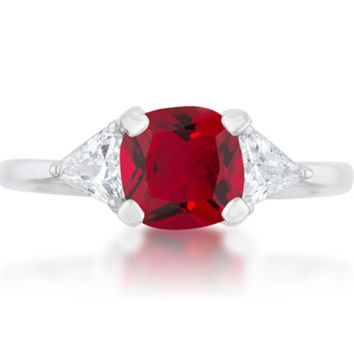 Shonda Three Stone Classic Ruby Red Engagement Ring | 2ct | Cubic Zirconia