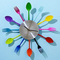 Rainbow Utensil Wall Clock