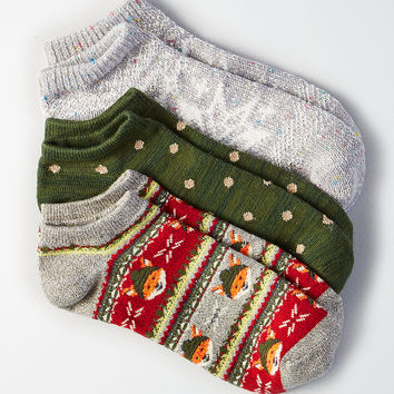 AEO Snowflake Fox Shortie Socks 3-Pack, Light Heather
