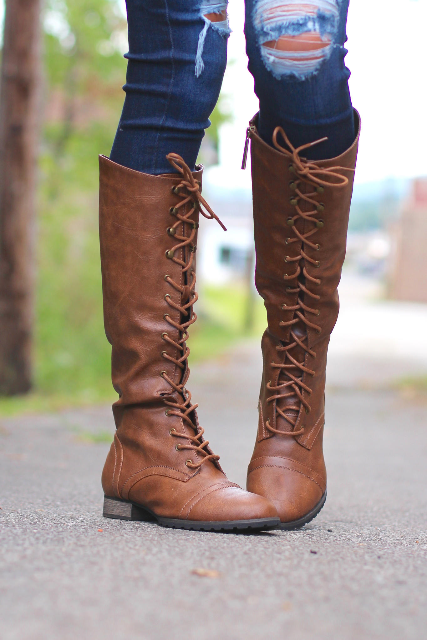 Outlaw Tall Combat Boots {Tan} from The Fair Lady Boutique