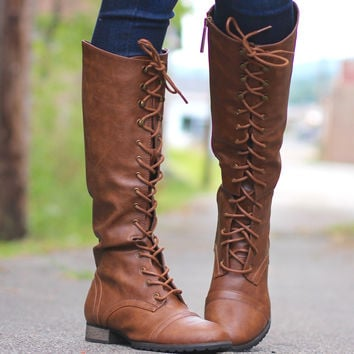 Outlaw Tall Combat Boots {Tan}