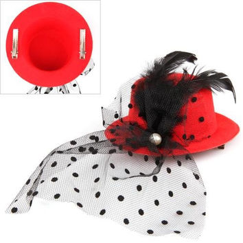 5 Pack MYTL Feather Veil Hair Clip Red Mini Top Hat Party Cosplay Goth