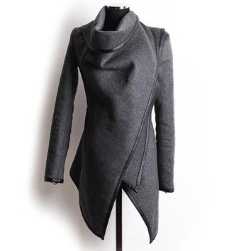 Trench coat tunic style cardigan womens jacket outerwear parka