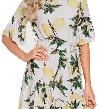 Mode Fruit Print Pattern Ruffle Hem Chiffon Dress