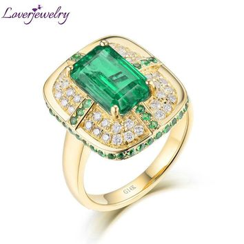 Solid 18K Yellow Gold Green Emerald Wedding Diamonds Rings Good Quality Genuine Gemstone Fine Jewelry for Women Promised Gift