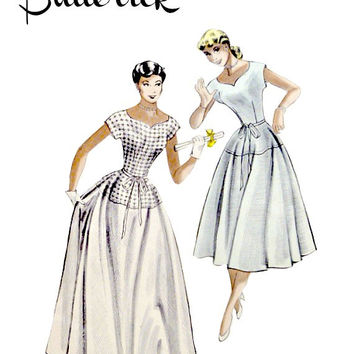50s Evening Ballet Length Dress Quick Easy Sew Pattern Scoop Sweetheart Neckline Full Skirt Vintage Butterick 5697 Sewing Patterns Bust 34