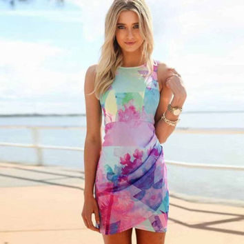 Asymmetrical Watercolor Print Sleeveless Bodycon Dress