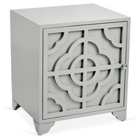 One Kings Lane - The Complete Bedroom - Alex Carved Side Table, Gray