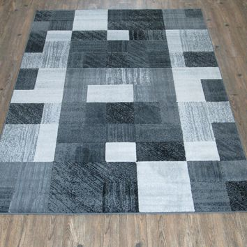 "Silver Grey Black Large Contemporary Faux Wool Area Rug Exact Size 5'4"" X 7'5"""