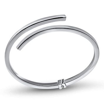 Sterling Silver Rhodium-Plated Polished Bypass Hinged Bangle
