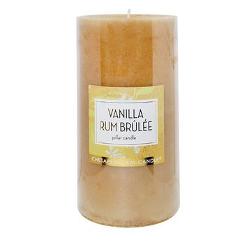Chesapeake Bay Candle 4'' x 8'' Vanilla Rum Brulee Pillar Candle