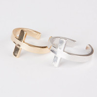 Sideways cross ring silver or gold , adjustable side cross silver gold plated brass simple ring gift for her bridesmaid gift