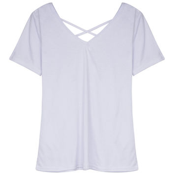 White V-neck Cross Strap Short Sleeve T-shirt
