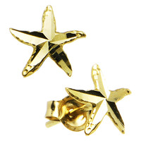14k Yellow Gold Starfish Stud Earrings | Body Candy Body Jewelry