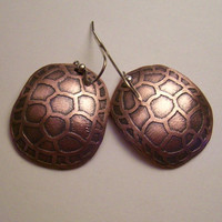 Copper Etched Tortoise Shell Earrings
