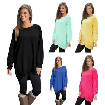 Women's Long Sleeve Round Collar Tunic Blouse 5 Candy Colors S M L XL