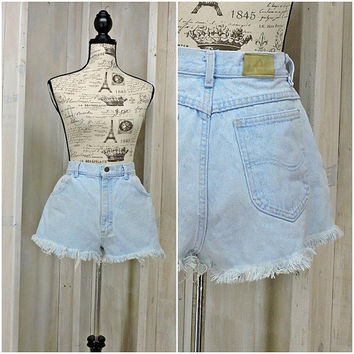 "80s Lee denim shorts / 30"" waist / vintage denim cutoffs / high waisted frayed jean shorts / size 8 10"