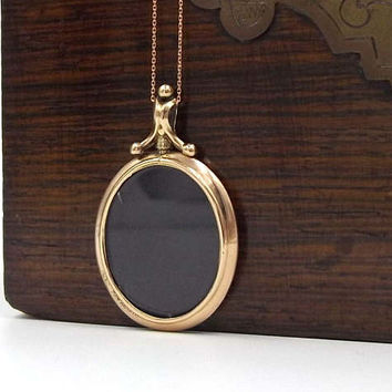 Victorian 9ct Rose Gold Photo Locket Necklace | Oval 9K Antique Glass Pendant On A Chain
