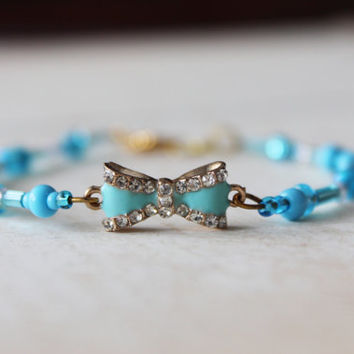 Baby Blue Bracelet, Blue Beaded Bracelet, Bow Charm Bracelet, ON SALE