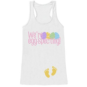 Custom Party Shop Womens EGGspecting Pregnancy Reveal Tank Top