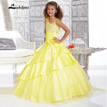 2016 Yellow Flower Girls Dresses Off the Shoulder Floor Length Girls Pageant Gowns Vestidos Longo Little Girls Pageant Dress