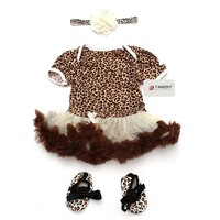 TANZKY® 3pcs Infant Baby Girls Leopard Printed Dress (S 0-6months)
