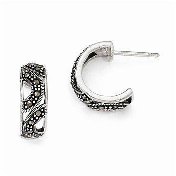 Sterling Silver Marcasite Post Hoop Earrings