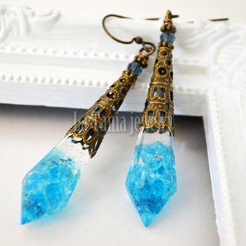 Blue Icicle Earrings – Resin Earrings Aqua Blue Glass,  Swarovski Bead Earrings, Final Fantasy themed Jewelry Statement Jewelry