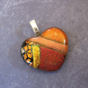 Dichroic Glass Heart Pendant, Heart Shaped Jewelry - One of a Kind - Romantic Voyage - 3522