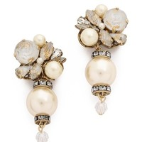 Erickson Beamon Glass Pearl & Crystal Earrings