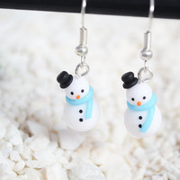 Christmas Snowman Earrings BLUE - Festive Xmas Jewellery (Plus Glitter)