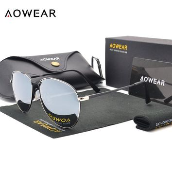 AOWEAR Classic Aviator Sunglasses Men Polarized Colorful Mirror Driving Glasses Women UV400 Shades Goggles Sunglass Oculos Gafas