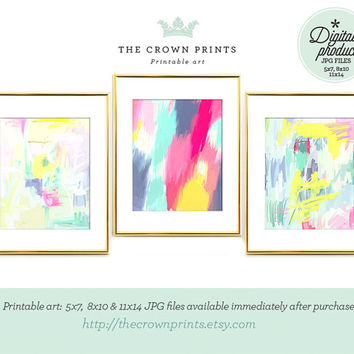 Abstract gallery wall PRINTABLE art,set of 3,printable decor,bedroom wall art,pastel wall art,abstract printable art,printable women gift