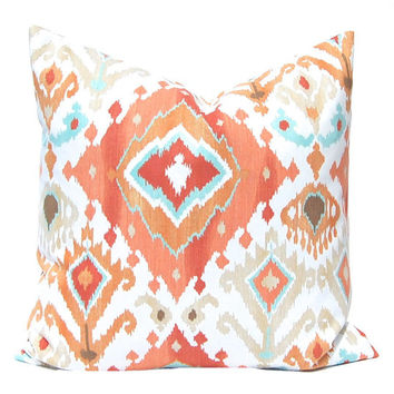 Orange Pillow, Throw Pillow Cover, Pillow Cover, Decorative Pillow Cover Orange Coral Ikat Cushion Cover Ikat Pillow Coral Aqua