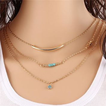 1pc New Hot Unique Charming Gold Tone Bar Circle Lariat Necklaces