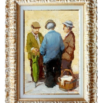"Italian Master painter Ernesto Scudiero ""Country figures"" original oil canvas with frame"
