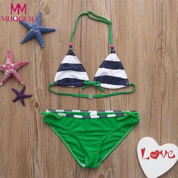 Childrens Swimsuit Cute 4~8y Summer Children Swimwear Kids Girls Color Striped Beading Swimwear  Bikini Outfits 2018 New Girls Bathing Suit KO_25_2