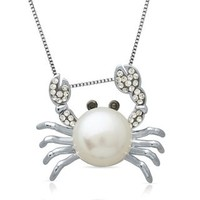 Freshwater Cultured Pearl & Crystal Crab Pendant in Sterling Silver - Gifts Under $100 - Price - Gift Guide - Helzberg Diamonds