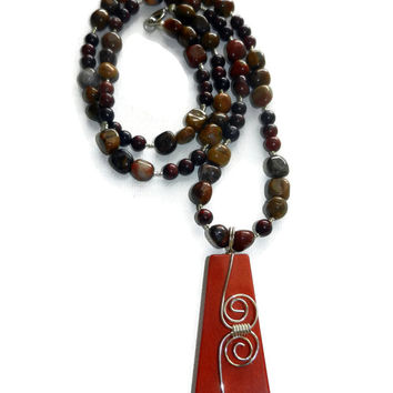 Ruby Jasper Beaded Necklace with Pendant, 30 Inch Long Necklace