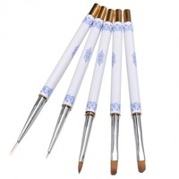 5pcs Nail Art Pens Acrylic Powder Carving Pen Decoration UV Gel Liquid Brush Double-headed Tips Dotting Painting Pen