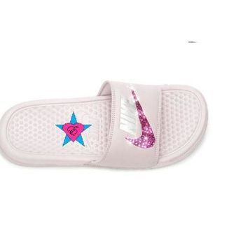 ... where can i buy 28289 f212b Cheap Swarovski Nikes Rose Silver Nike Benassi  JDI Sport Slides ... b78b50c987