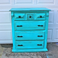 Bayside Blue Vintage Chest/ Dark Glaze /Black Pulls /Made to Order Paint Color & Finish--