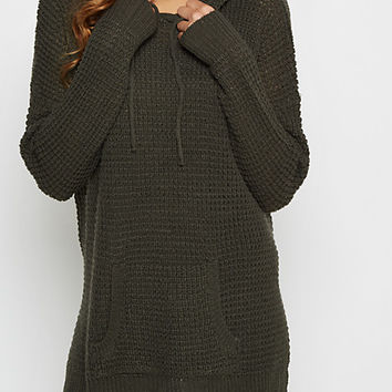 Olive Green Waffle Knit Hoodie