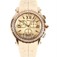 Beige Jelly Rhinestone Watch