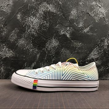 Converse All Star Chuck Taylor 70s Low-Top White Rainbow Multi Color Canvas Sneakers