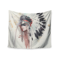 "Rebecca Bender ""Warrior Bride"" Beige Multicolor Wall Tapestry"