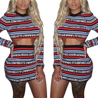 Stripes Letter Print Crop Top with Short Skirt Two Pieces Set