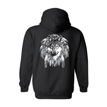 Men's/Unisex Zip-Up Hoodie Indian Wolf