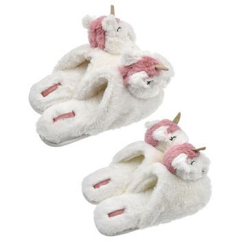 1pair Fashion Women Winter Slippers White Plush Cartoon Unicorn Head Shoes Gifts