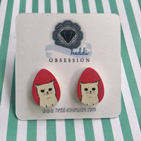Grumpy cat wooden earrings 13mmx18mm